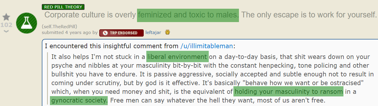 post from the red pill subreddit