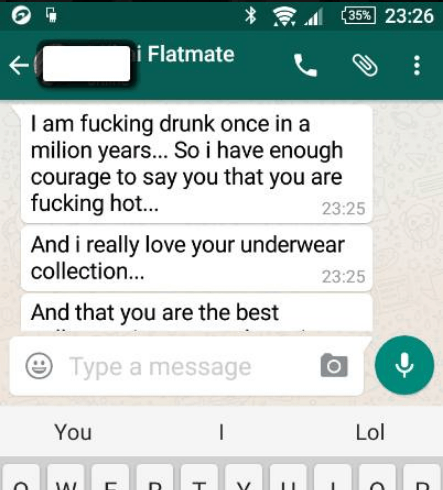 gay flatmate makes a pass on straight flatmate
