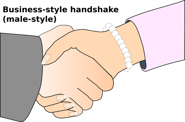 woman shaking hands male style