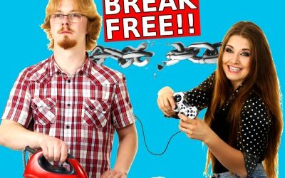 figurative control of woman and man breaks free